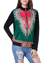 Women's Casual/Daily / Sports Simple / Street chic / Active Jackets,Rainbow Stand Long Sleeve All Seasons Multi-color Cotton Medium