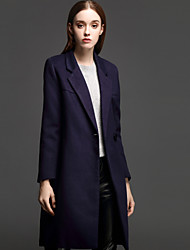 ANGEL Women's Casual/Daily Simple CoatSolid Notch Lapel Long Sleeve Fall / Winter Blue Cotton / Polyester Medium