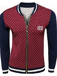 Men's Casual/Daily Simple Regular Cardigan,Color Block Blue / Red Stand Long Sleeve Wool Fall / Winter Medium Micro-elastic