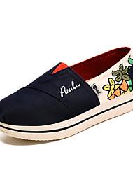 Women's Spring Fall Round Toe Canvas Casual Flat Heel Slip-on