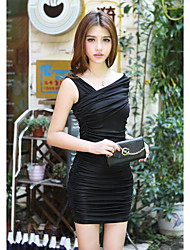 Women's Club Sexy Bodycon / Sheath Dress,Solid Off Shoulder Mini Short Sleeve Black Others Spring / Fall Low Rise Micro-elastic Medium