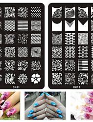 1pcs Nail Printing Plate Printing Template Nail Printing Square Steel Plate CK Series