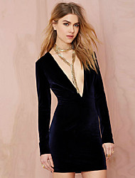 Women's Formal Sexy A Line / Bodycon Dress,Solid V Neck Knee-length Long Sleeve Purple Rayon Fall Mid Rise Micro-elastic Medium