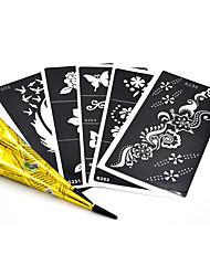 5 pièces pochoir henné moyen 2 pièces art bras de corps henné noir pâte de cône de maquillage peinture tatouage stencil