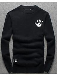 Herren Standard Pullover-Lässig/Alltäglich Einfach Solide Schwarz Rollkragen Langarm Wolle Herbst Winter Dick Mikro-elastisch