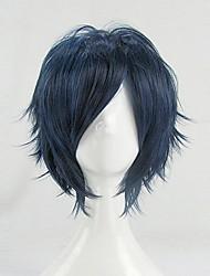 32 centímetros vocaloid kaito blue black peruca curta traje cospaly