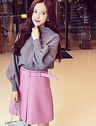 Women's Bodycon Solid Skirts,Casual/Daily Low Rise Midi Button Cotton Micro-elastic Fall