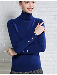 Women's Casual/Daily Simple Short Pullover,Solid Blue / Black / Gray Shirt Collar Long Sleeve Cashmere Fall / Winter Medium Micro-elastic