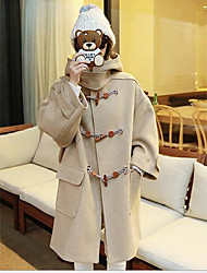 Women's Going out / Casual/Daily Simple Coat,Solid Hooded Long Sleeve Fall / Winter Beige Wool Thick