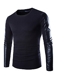 Men T-Shirt Long Sleeved T-Shirt And Slim Leather Stitching Shirt
