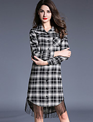 Women's Going out Vintage Shift Dress,Plaid Shirt Collar Knee-length Long Sleeve Gray Cotton / Polyester Fall / Winter Mid Rise
