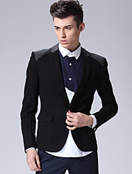 Men's Casual/Daily Simple Fall / Winter Blazer,Solid Shirt Collar Long Sleeve Black Rayon / Polyester