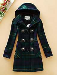 Women's Casual/Daily Simple Coat,Houndstooth Hooded Long Sleeve Fall Green Wool Medium