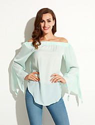 Women's Casual/Daily Sexy / Street chic Spring Blouse,Solid Boat Neck Long Sleeve Blue Cotton / Polyester Thin