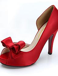 Women's Heels Spring Summer Fall Winter Platform Silk Wedding Casual Party & Evening Stiletto Heel Platform Bowknot Satin FlowerBlack Red