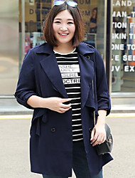 MsShe Women's Plus Size / Casual/Daily Simple Trench CoatSolid V Neck Long Sleeve Fall / Winter Blue / Red Polyester Medium