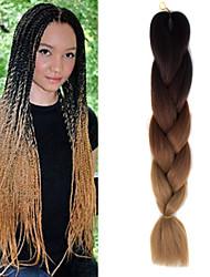 "preto castanho claro ombre amarelo crochet 24"" tranças yaki kanekalon 3 tom 100g jumbo cabelo sintético"
