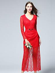 Dámské Jednoduché Běžné/Denní Pouzdro Šaty Jednobarevné,Dlouhý rukáv Do V Midi Červená Polyester Podzim Mid Rise Neelastické Střední