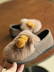Girl's Heels Winter Moccasin Leather Casual Low Heel Pom-pom Black / Beige Others