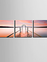 E-HOME Stretched Canvas Art Lakeshore View Decoration Painting  Set of 3