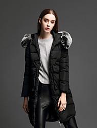 ANGEL Women's Regular Padded CoatSimple Casual/Daily Solid-Nylon Polypropylene Long Sleeve Hooded Blue / Black