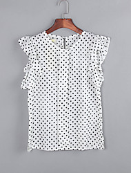 Women's Polka Dot Blue / White Blouse,Round Neck Short Sleeve