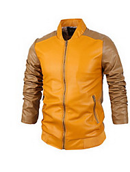 Men's Casual/Daily Simple Leather Jackets,Color Block Standing Collar Long Sleeve Fall Pink / Yellow Lambskin Medium