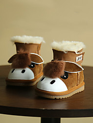 Boy's Baby Boots Winter Others Cowhide Outdoor Flat Heel Animal Print Black Blue Brown Others