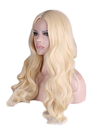 Capless Long Medium Side Bang Body Wave Synthetic Wigs for Women Beige Blonde Heat Resistant with Free Hair Net