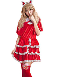 Cosplay Costumes Party Costume Career Costumes Bunny Girls Festival/Holiday Halloween Costumes Red Solid Dress Shawl More Accessories