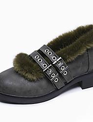 Women's Sneakers Winter Moccasin PU Fur Casual Flat Heel