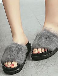 Damen-Slippers & Flip-Flops-Lässig-Pelz-Plateau-Fersenriemen-Schwarz / Grau