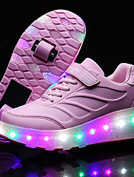 LED Light Up Shoes, Kid Boy Girls Roller Skate Shoes / Ultra-light Single Wheel Skating Shoes / Athletic / Casual Shoes / Balck Blue Pink