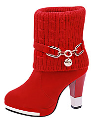 Women's Boots Winter Comfort Suede Dress Casual Chunky Heel Chain Split Joint Black Red