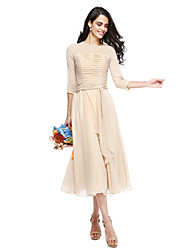 LAN TING BRIDE Tea-length Jewel Bridesmaid Dress - Elegant 3/4 Length Sleeve Georgette
