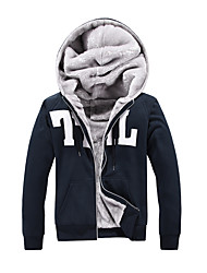 Men's Casual/Daily / Sports / Going out Active / Simple / Street chic Hoodie,Solid / Letter Round Neck Fleece Lining Micro-elasticCotton