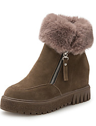 Women's Boots Winter Platform Thick Warm Increased Within All Match Suede Dress / Casual Platform Zipper