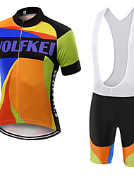 WOLFKEI Summer Cycling Jersey Short Sleeves BIB Shorts Ropa Ciclismo Cycling Clothing Suits #19
