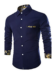 Men's Casual/Daily Simple Shirt,Solid Square Neck Long Sleeve Blue Cotton