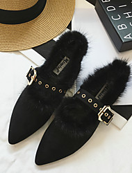 Women's Flats Winter Comfort Fur Casual Flat Heel Others Black Green Almond Others