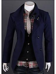 Men's Casual/Daily Simple Coat,Solid Shirt Collar Long Sleeve Spring / Fall Blue / Red / Black / Gray / Green Wool Medium