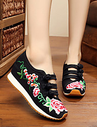 Women's Flats Spring Summer Fall Winter Comfort Espadrilles Fabric Outdoor Casual Athletic Flat Heel Buckle Flower Black Blue Red