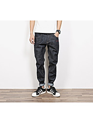 Men's Slim Jeans Pants,Casual/Daily Simple Solid Mid Rise Zipper Cotton Inelastic Fall / Winter