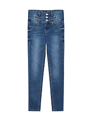Metersbonwe Women's Solid Blue Jeans PantsStreet chic Fall