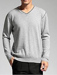 Мужчины На каждый день Простое Обычный Пуловер Однотонный,Синий / Серый V-образный вырез Длинный рукав Шерсть Осень / Зима Средняя