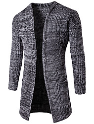 Men's Casual/Daily / Party/Cocktail Simple Long Cardigan,Solid Red / Gray / Green V Neck Long Sleeve Cotton Fall / Winter Medium