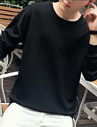 Masculino Tamanhos Grandes activewear Set,Casual Simples Cor Única Patchwork Decote Redondo Forro de Velocino Micro-Elástico AlgodãoManga