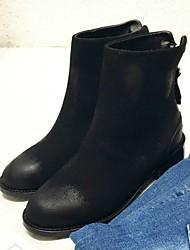 Черный-Женский-Повседневный-Полиуретан-На низком каблуке-Другое-Ботинки