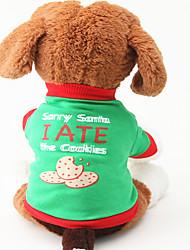 Cachorro Camiseta Roupas para Cães Casual Carta e Número Verde