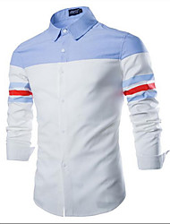 Men's Casual/Daily Simple Shirt,Color Block Square Neck Long Sleeve White Cotton Medium